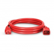 IEC320 C14 to C15 Power Cord, 14AWG, 250V/15A, Red-6ft (1.8m)