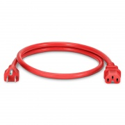 NEMA 5-15P to IEC320 C15 Power Cord, 14AWG, 125V/15A, Red-3ft (0.9m)