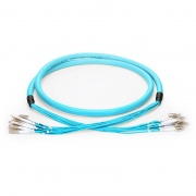 Customised 4 Fibres LC/SC/FC/ST OM3 Multimode Indoor Pre-terminated Breakout Cable