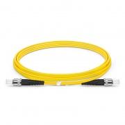 2m (7ft) Jarretière Optique ST UPC vers ST UPC Duplex OS2 Monomode PVC (OFNR) 2,0mm