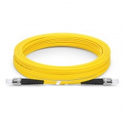 10m (33ft) ST UPC to ST UPC Duplex OS2 Single Mode PVC (OFNR) 2.0mm Fiber Optic Patch Cable