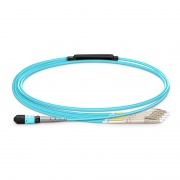 1m (3ft) MTP Female to 4 LC UPC Duplex 8 Fibers Type B LSZH OM3 50/125 Multimode Elite Breakout Cable, Aqua