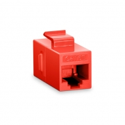 Cat5e 8P8C Unshielded RJ45 Coupler Keystone Insert Module - Red