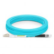 20m (66ft) LC UPC to ST UPC Duplex OM3 Multimode PVC (OFNR) 2.0mm Fiber Optic Patch Cable