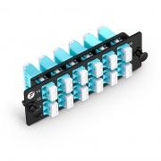 FHD Fiber Adapter Panel, 24 Fibers OM4 MultiMode, 12x LC UPC Duplex (Aqua) Adapter, Ceramic Sleeve