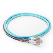 1.5m (5ft) LC UPC 12 Fibers OM3 Multimode Bunch PVC (OFNR) 0.9mm Fiber Optic Pigtail
