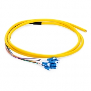 1.5m (5ft) LC UPC 12 Fibers OS2 Single Mode Bunch PVC (OFNR) 0.9mm Fiber Optic Pigtail