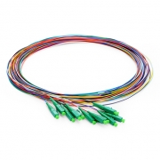 1m (3ft) LC APC 12 Fibers OS2 Single Mode Unjacketed Color-Coded Fiber Optic Pigtail