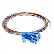 1m (3ft) SC UPC 12 Fibers OS2 Single Mode Unjacketed Color-Coded Fiber Optic Pigtail