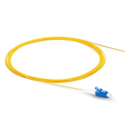 2m (7ft) LC UPC Simplex OS2 Single Mode PVC (OFNR) 0.9mm Fiber Optic Pigtail