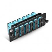 Panneau d'Adaptateur à Fibre Optique FHD, 12 Fibres OM4 Multimode et 6 Ports Adaptateurs SC UPC Duplex (Aqua), Manchon en Céramique