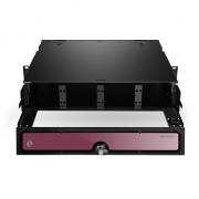 2U HD distribuidor de fibra óptica descargado montaje en rack, sostiene hasta 8x paneles adapatores de fibra o 8x MPO/MTP casetes