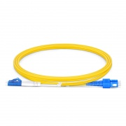 1m (3ft) LC UPC to SC UPC Duplex OS2 Single Mode PVC (OFNR) 2.0mm Bend Insensitive Fiber Optic Patch Cable