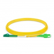 2m (7ft) LC APC to SC APC Duplex OS2 Single Mode PVC (OFNR) 2.0mm Bend Insensitive Fiber Optic Patch Cable