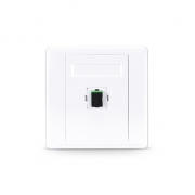 Single Port SC Simplex APC OS2 Single Mode Fiber Optic Wall Plate Outlet with Adapter, Straight