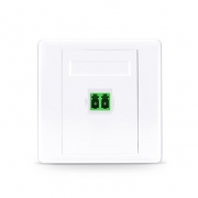 Single Port LC Duplex APC OS2 Single Mode Fiber Optic Wall Plate Outlet, Straight