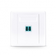 Single Port LC Duplex UPC OM3/OM4 Multimode Fiber Optic Wall Plate Outlet, Straight