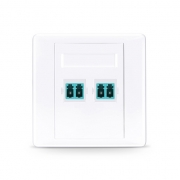 2-Port LC Duplex UPC OM3/OM4 Multimode Fibre Optic Wall Plate Outlet with Adapters, Straight