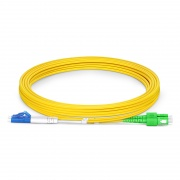 3m (10ft) LC UPC to SC APC Duplex OS2 Single Mode PVC (OFNR) 2.0mm Fiber Optic Patch Cable