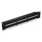 48 Ports Cat5e Unshielded Feed-Through Patch Panel, 2U Rack Mount