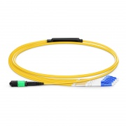 1m (3ft) Senko MPO Female to 4 LC UPC Duplex 8 Fibers Type B LSZH OS2 9/125 Single Mode Elite Breakout Cable, Yellow