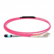 1m (3ft) MTP® Female to 4 LC UPC Duplex 8 Fibers Type B Plenum (OFNP) OM4 50/125 Multimode Elite Breakout Cable, Magenta