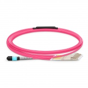3m (10ft) MTP® Female to 4 LC UPC Duplex 8 Fibers Type B Plenum (OFNP) OM4 50/125 Multimode Elite Breakout Cable, Magenta