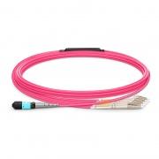 Cable breakout MTP Elite hembra a 4 LC UPC dúplex 8 fibras tipo B, OM4 (OM3) 50/125 multimodo, plenum (OFNP), magenta, 5m