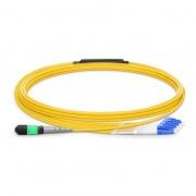 Cable breakout MTP Elite hembra a 4 LC UPC dúplex 8 fibras tipo B, OS2 9/125 monomodo, plenum (OFNP), amarillo, 5m