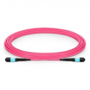 MTP® Trunkkabel, 5m (16ft) MTP® Female 12 Fasern, Polarität A Plenum (OFNP) OM4 50/125 Multimode, Elite, Magenta