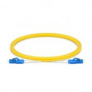 Cable de conexión de fibra, PVC(OFNR) 2m (7ft) LC UPC a LC UPC dúplex 2.0mm OS2 monomodo uniboot BIF