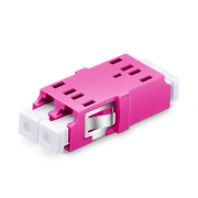LC/UPC to LC/UPC 10G Duplex OM4 Multimode SC Footprint Plastic Fiber Optic Adapter/Mating Sleeve without Flange, Violet