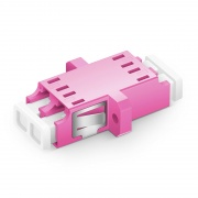 LC/UPC to LC/UPC 10G Duplex OM4 Multimode SC Footprint Plastic Fiber Optic Adapter/Mating Sleeve with Flange, Violet