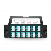 12x LC Duplex, 24 Fibers OM4 Multimode FHD BIDI TAP Cassette, 50/50 Split Ratio (Live/TAP), 40G
