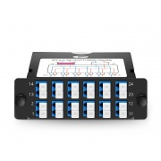 12x LC Duplex to 4x MTP® Male, 24 Fibers OS2 Single Mode FHD TAP Cassette, 70/30 Split Ratio (Live/TAP), 10/40/100G
