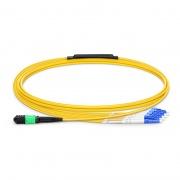2m (7ft) Senko MPO Female to 4 LC UPC Duplex 8 Fibers Type B LSZH OS2 9/125 Single Mode Elite Breakout Cable, Yellow