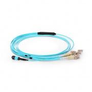 2m (7ft) MPO Female to 6 LC UPC Duplex 12 Fibres OM3 50/125 Multimode Breakout Cable, Type A, Elite, LSZH, Aqua