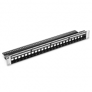 24-Port Blank Keystone Patch Panel, Unshielded, 1U Rack Mount