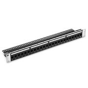 24-Port Cat5e Feed Through Patch Panel, Unshielded, 1U Rack Mount