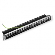 24-Port Cat5e Feed Through Patch Panel, Shielded, 1U Rack Mount