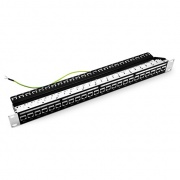24-Port Cat6 Feed Through Patch Panel, Shielded, 1U Rack Mount