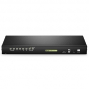 8-Port × 2 Users Cat5 1U Rack-Mount USB KVM Switch with IP Remote Access, 8 Interface Modules Included