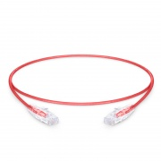 0.3m Cat6 Slim Ethernet Patch Cable - Snagless, Unshielded (UTP) PVC CM, 28AWG, Red