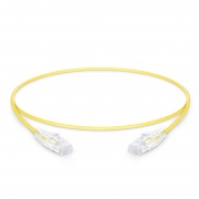 0.3m Cat6 Slim Ethernet Patch Cable - Snagless, Unshielded (UTP) PVC CM, 28AWG, Yellow
