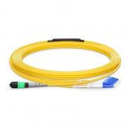 Longueur Personnalisée de Câble Breakout MTP Femelle vers 4 LC 8 Fibres OS2 9/125 Monomode, Type B, Élite, Plénum (OFNP), Jaune