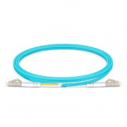 Cable/latiguillo/jumper de fibra óptica OM4 multimodo LC UPC a LC UPC dúplex OFNP 2.0mm longitud personalizada