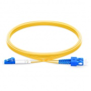 2m (7ft) LC UPC to SC UPC Duplex OS2 Single Mode PVC (OFNR) 3.0mm Fiber Optic Patch Cable
