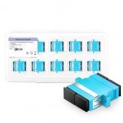 SC/UPC to SC/UPC 10G Duplex OM3 Multimode Plastic Fiber Optic Adapter/Coupler with Flange, Aqua (10pcs/Pack)