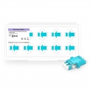 LC/UPC to LC/UPC 10G Duplex OM3 Multimode SC Footprint Plastic Fiber Optic Adapter/Coupler with Flange, Aqua (10pcs/Pack)