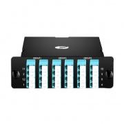 Casete FHD MPO 24 fibras OM3 multimodo, 3x MPO-8 a 6x LC Quad, 40G/100G a 10G/25G